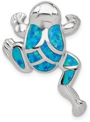 Sterling Silver Lab-Created Blue Opal Inlay Frog Slide Pendant