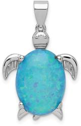 Sterling Silver Lab-Created Opal Inlay Sea Turtle Pendant