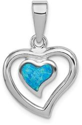 Sterling Silver Lab-Created Blue Opal Inlay Heart Pendant