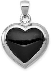 Sterling Silver Black Onyx & Mother Of Pearl Reversible Heart Pendant