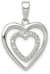 Sterling Silver CZ Double Heart Pendant QP2053
