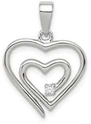 Sterling Silver Single CZ Heart Pendant