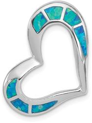 Sterling Silver Blue Inlay Lab-Created Opal Heart Pendant QP2743