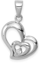 Sterling Silver Rhodium Plated CZ Heart Pendant QP2798
