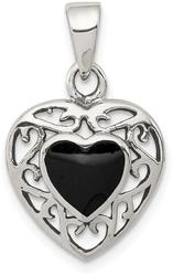 Sterling Silver Black Onyx Heart Antiqued Pendant