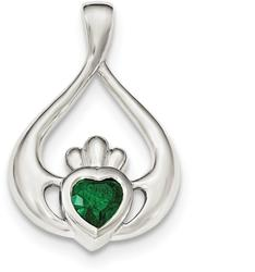 Sterling Silver Green CZ Heart Claddagh Pendant