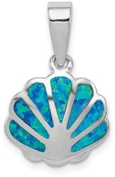 Rhodium-Plated Sterling Silver Created Blue Opal Oyster Pendant