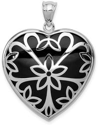 Sterling Silver Rhodium-Plated Onyx Heart Pendant