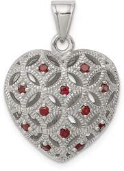 Sterling Silver Rhodium-Plated w/ Garnet Heart Pendant