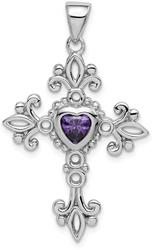Sterling Silver Rhodium-Plated w/ Amethyst Cross Pendant