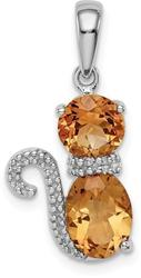 Sterling Silver Rhodium-Plated Citrine and Diamond Cat Pendant