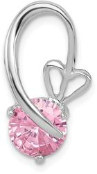Sterling Silver Rhodium-Plated Pink CZ Heart Slide Pendant