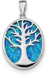 Sterling Silver Rhodium-Plated Lab-Created Opal Tree Of Life Oval Pendant
