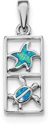 Sterling Silver Rhodium-Plated Blue Lab-Created Opal Starfish Turtle Pendant