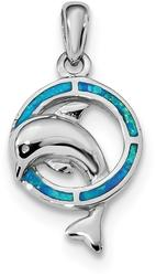 Sterling Silver Rhodium-Plated Blue Inlay Lab-Created Opal Dolphin Pendant