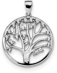 Sterling Silver Rhodium-Plated Lab-Created White Sapphire Tree Of Life Pendant