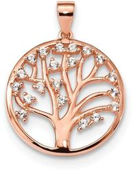 Sterling Silver Pink Lab-Created White Sapphire Tree Of Life Pendant
