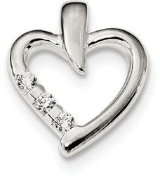 Sterling Silver Polished w/ CZ Heart Slide Pendant