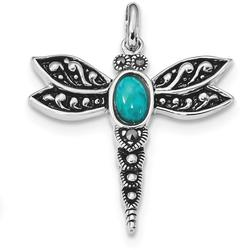 Sterling Silver Rhodium/Oxidized Simulated Turquoise/Marcasite Dragonfly Pendant