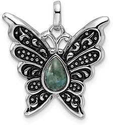 Sterling Silver Rhodium/Oxidized Simulated Turquoise Butterfly Pendant