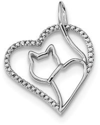 Sterling Silver Rhodium-Plated CZ Heart w/ Cat Silhouette Pendant