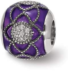 Sterling Silver Reflections CZ Purple Enameled Bead