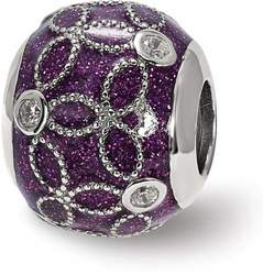 Sterling Silver Reflections CZ Sparkling Purple Enameled Bead