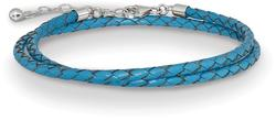 14+2 Sterling Silver Reflections Blue Leather Choker/Wrap Bracelet
