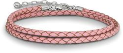 14+2 Sterling Silver Reflections Pink Leather Choker/Wrap Bracelet