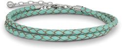14+2 Sterling Silver Reflections Teal Leather Choker/Wrap Bracelet