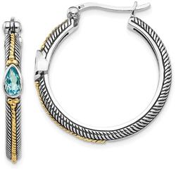 Sterling Silver w/ 14K Yellow Gold Light Blue Swiss Topaz Hinged Hoop Earrings