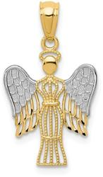 14K Yellow Gold and Rhodium Angel Pendant REL160