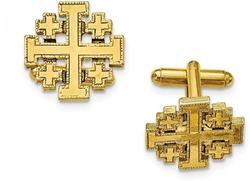 Mens Gold-Tone Jerusalem Cross Cufflinks