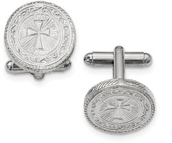 Mens Silver-Tone Cross Cufflinks