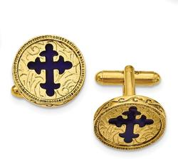 Mens Gold-Tone Blue Enameled Cross Cufflinks