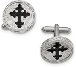 Mens Silver-Tone Black Enameled Cross Cufflinks