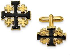 Mens Gold-Tone Black Enameled Jerusalem Cross Cufflinks