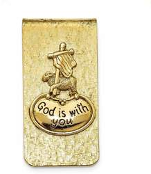 Mens Gold-Tone God Is with You Money Clip