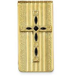 Mens Gold-Tone Black Enameled Cross Money Clip