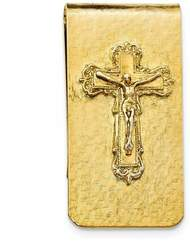 Mens Gold-Tone Crucifix Money Clip