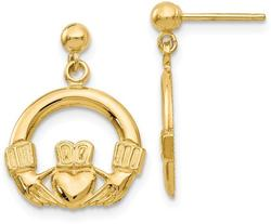 14K Yellow Gold Dangling Claddagh Post Earrings