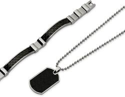 Mens Stainless Steel Black Carbon Fiber Inlay Necklace and Bracelet Set