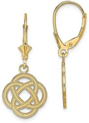 14K Yellow Gold Small Celtic Eternity Knot Circle Leverback Earrings
