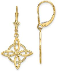 14K Yellow Gold Small Celtic Eternity Knot Leverback Earrings
