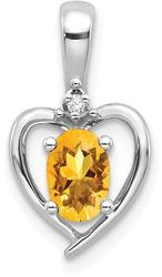 14k White Gold Citrine Diamond Pendant XBS474