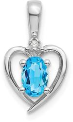 14k White Gold Blue Topaz Diamond Pendant XBS475