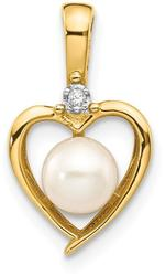 14K Yellow Gold Diamond & Cultured Freshwater Pearl Pendant XBS495