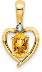 14K Yellow Gold Diamond & Citrine Pendant XBS510