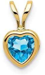 14K Yellow Gold 5mm Heart Blue Topaz Bezel Pendant