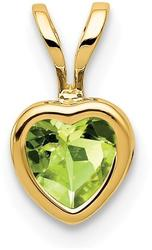 14K Yellow Gold 5mm Heart Peridot Bezel Pendant